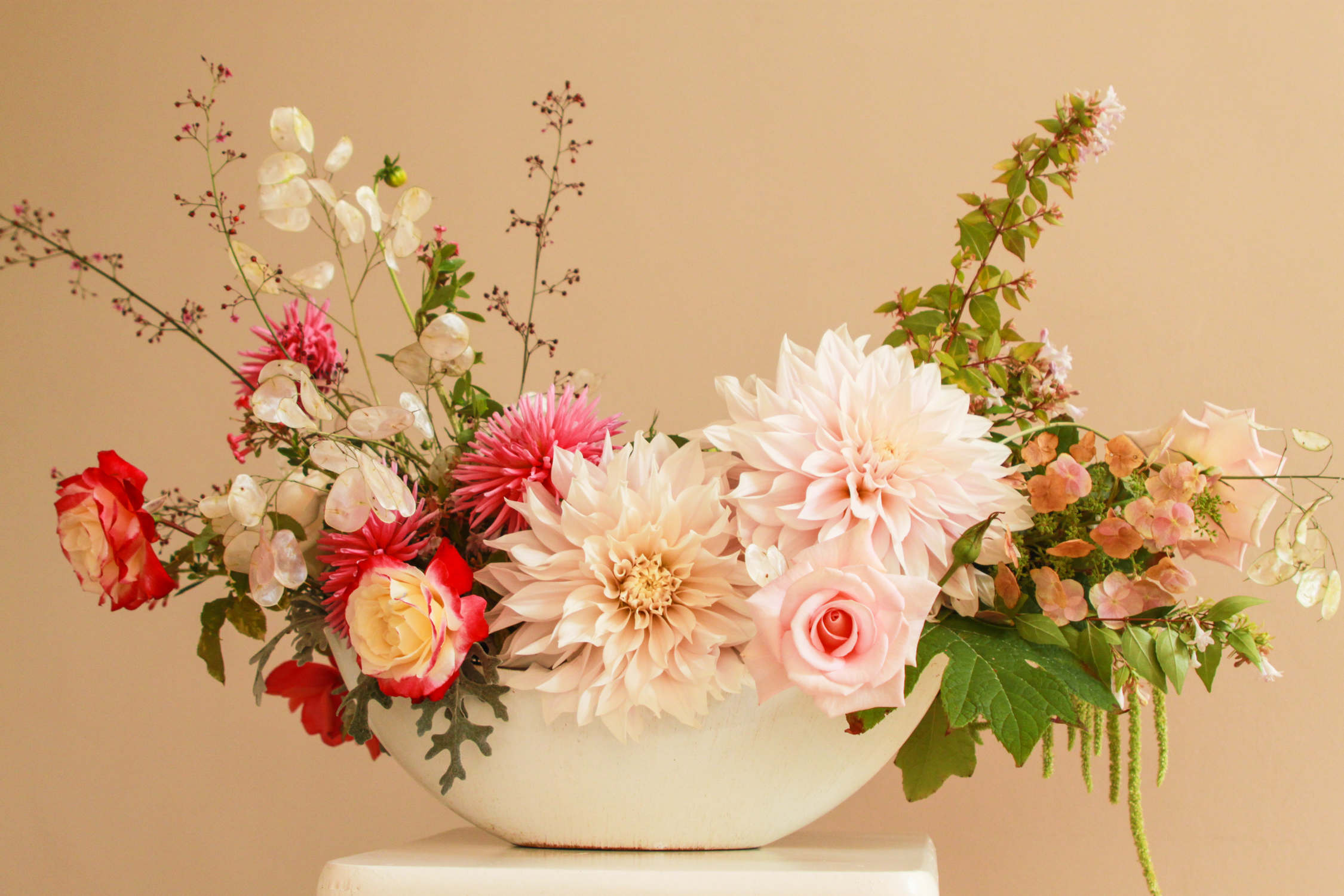 cafe au lait dahlias, oak leaf hydrangea, garden roses, amaranthus, cape town florist