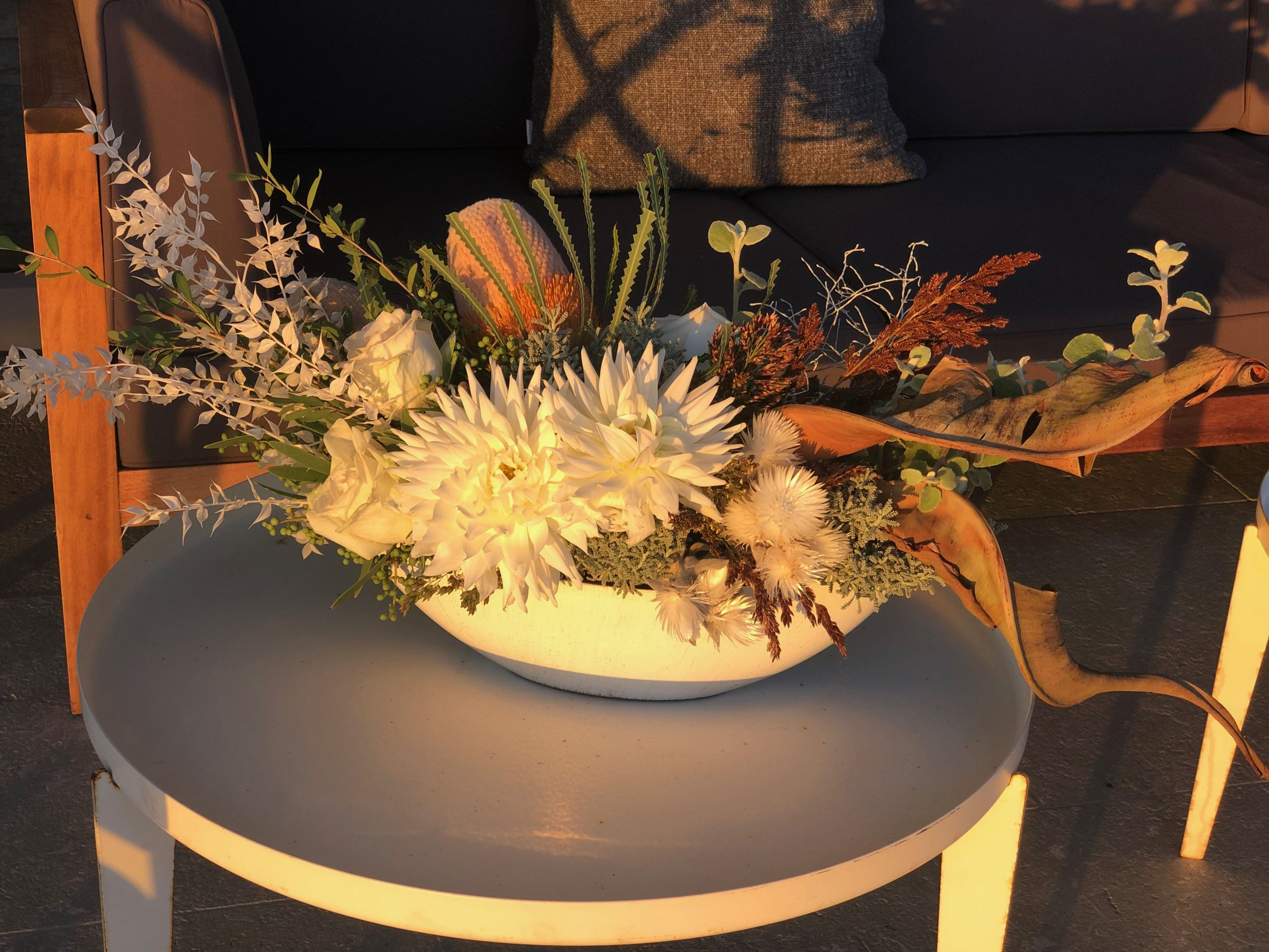 safari themed florals for a seafood barbeque in villa, Cape Town Event Florist